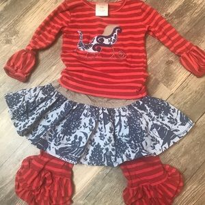 3-piece Persnickety Christmas Outfit. 6-12m